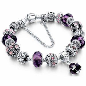 Charm Bracelet, TONVER Beaded Bracelet Handmade Carved Sterling Silver Plated Snake Chain Bracelets Charms for Women